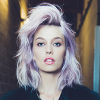 Blonde Model with Purple Highlights